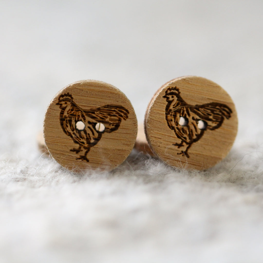 Set of 2 Chicken Buttons - Washable Bamboo