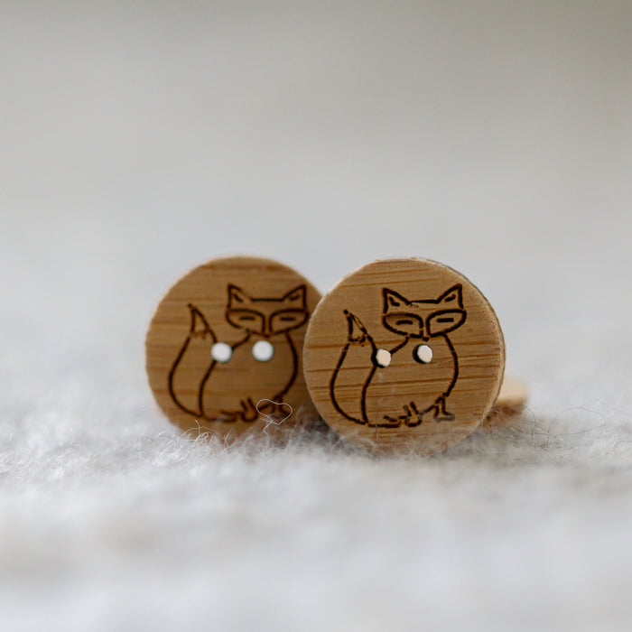 Set of 2 Fox Buttons - Washable Bamboo