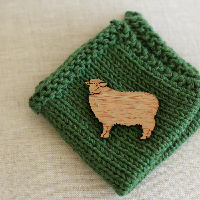 Sheep Brooch | Wooden Sheep Pin