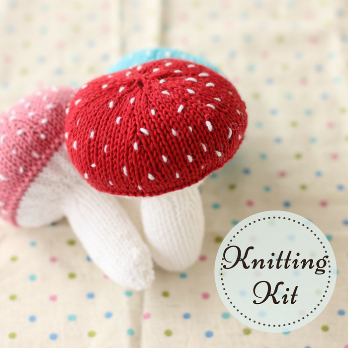 Mushroom Baby Rattle Knitting Kit | Organic Cotton