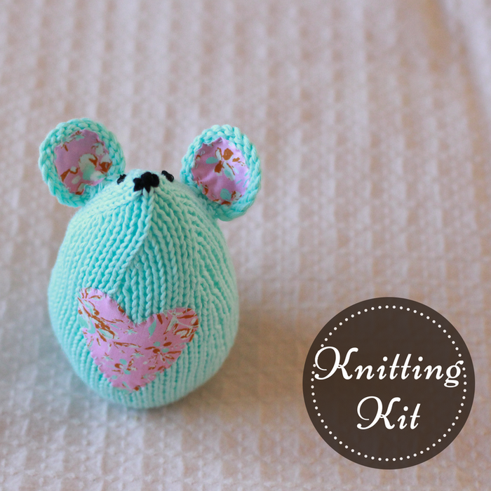 Tea Mouse Knitting Kit | Aqua