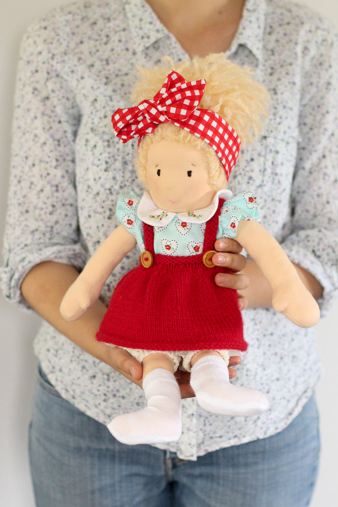 Doll's Posie Pinafore | PDF Knitting Pattern