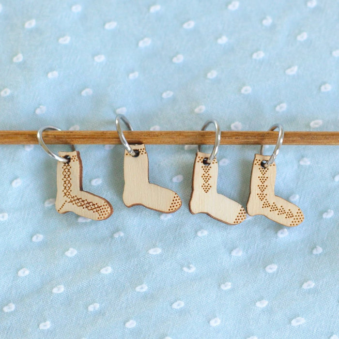 Sock Wooden Stitch Markers | Set of 2