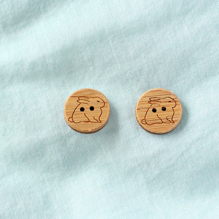 Set of 2 Bunny Rabbit Buttons - Washable Bamboo