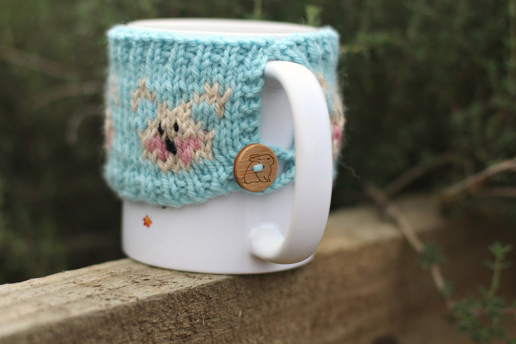 Marshmallow Bunny Mug Cosy Knitting Pattern - Instant Download