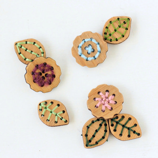 Stitchable Flower or Leaf Buttons - Washable Bamboo