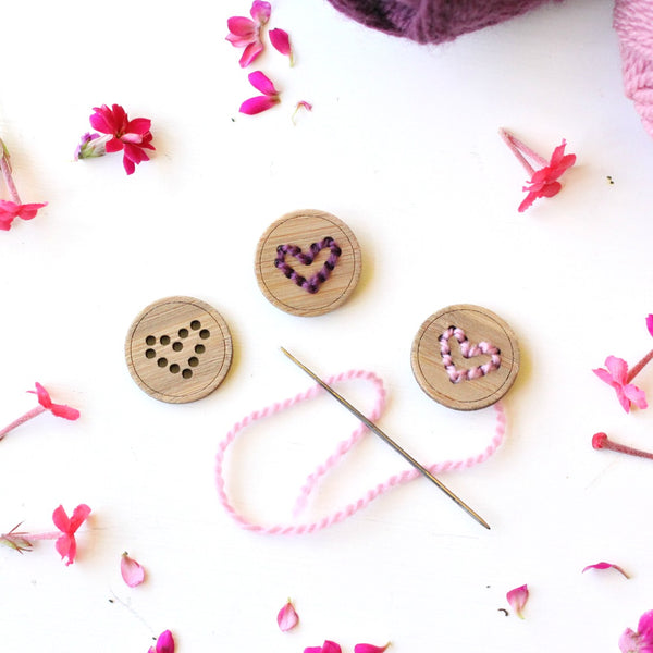 Set of 2 Stitchable Heart Buttons - Washable Bamboo