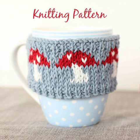 PDF Knitting Pattern - Magical Mushrooms Mug Cosy - Instant Download