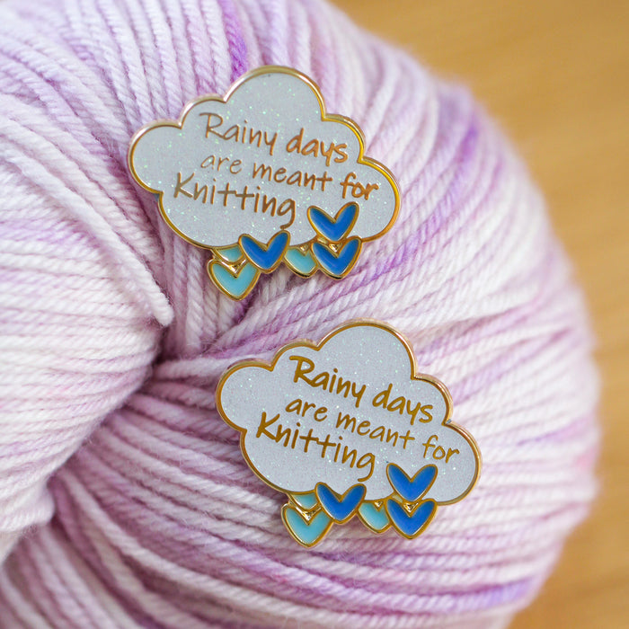 Enamel Pin - Rainy Days are Meant for Knitting