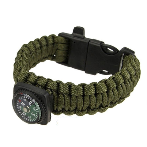 Paracord Survival Bracelet Compass/Flint/Fire Starter/Whistle Camping Gear/Kit