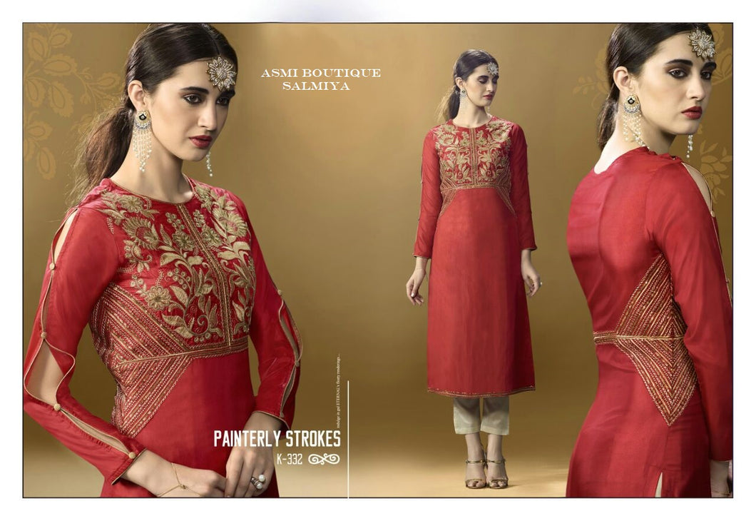 Silk RedStraight Kurti with Golden Embroidery