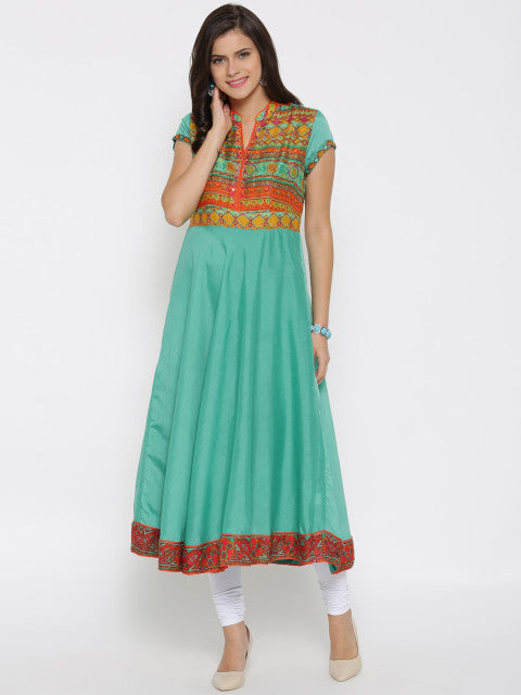 Green Anarkali Cotton-Silk Kurti