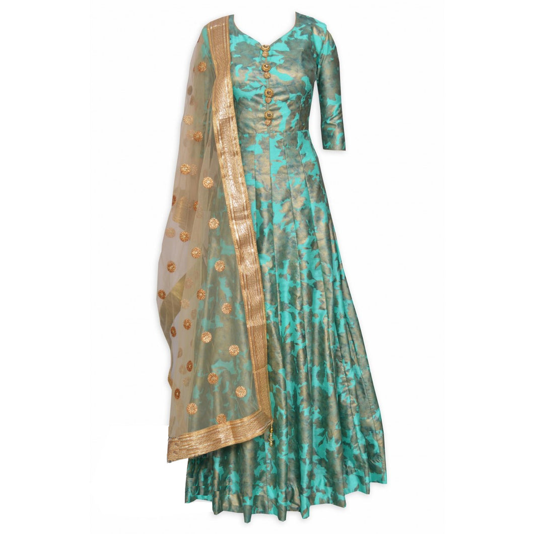 Elegant Partywear Silk Gown with heavy Dupatta