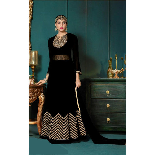 Ravishing Black Partywear Anarkali Gown with Zari embroidery