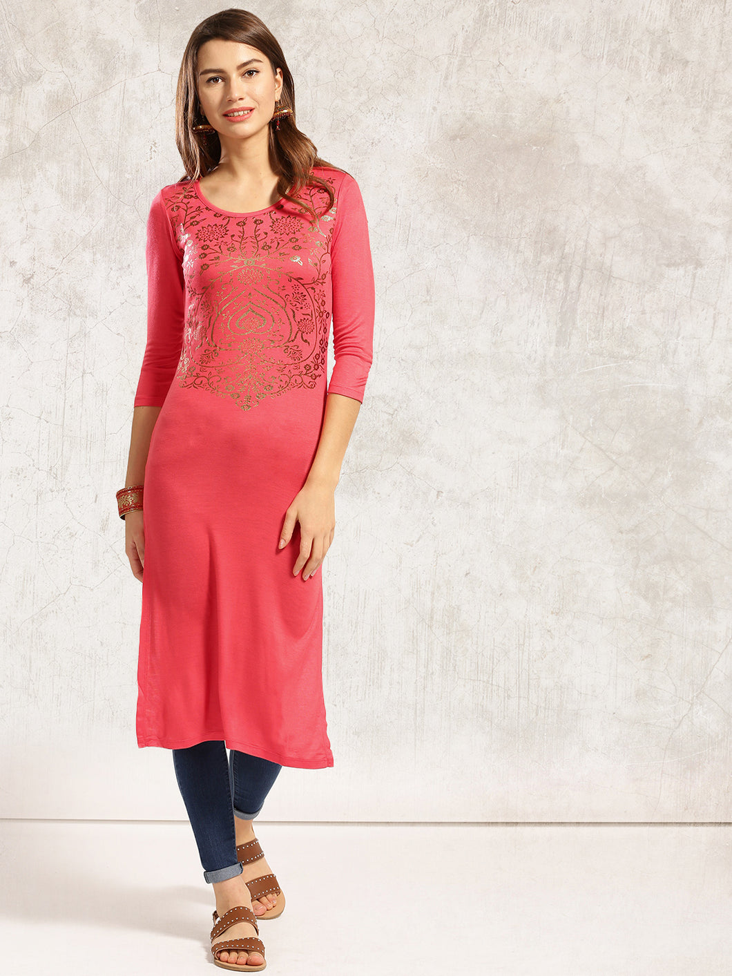 Pink Straight Kurti with Golden Print
