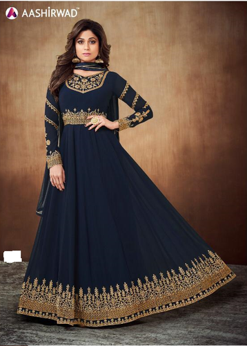Semistitched Partywear Anarkali Gown