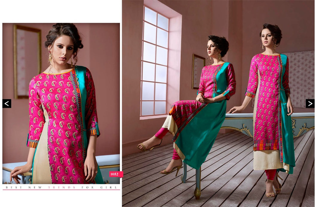 Silk Rayon Layered pink Printed A-Line Kurti with Kurti