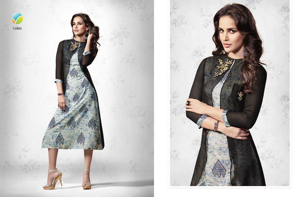 Georgette black Printed A-Line Kurti with Embroidery