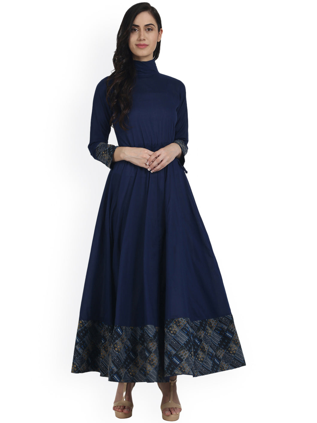 Navi Blue Full Sleeve Cotton Floor Length Anarkali with Closed Neck Kurti