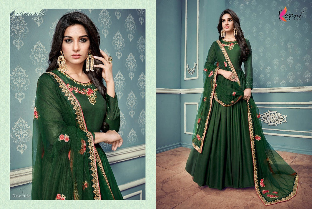 Semistitched Partywear Anarkali Green Gown
