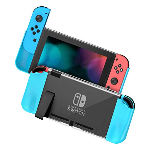 Zecti Protective Case Compatible With Nintendo Switch, PC+TPU Grip Cover Switch for Console and Joy-Con Controller, Shock Absorption Anti-Scratch Cover for Nintendo Switch- Red and Blue Case