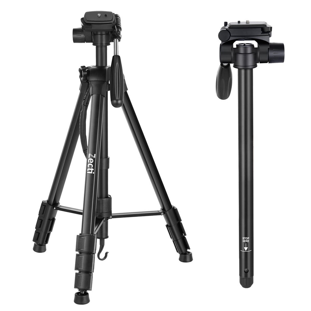 Zecti 176cm Camera Tripod for DSLR Camera with Carrying Bag, Max  Capacity 8.8lbs