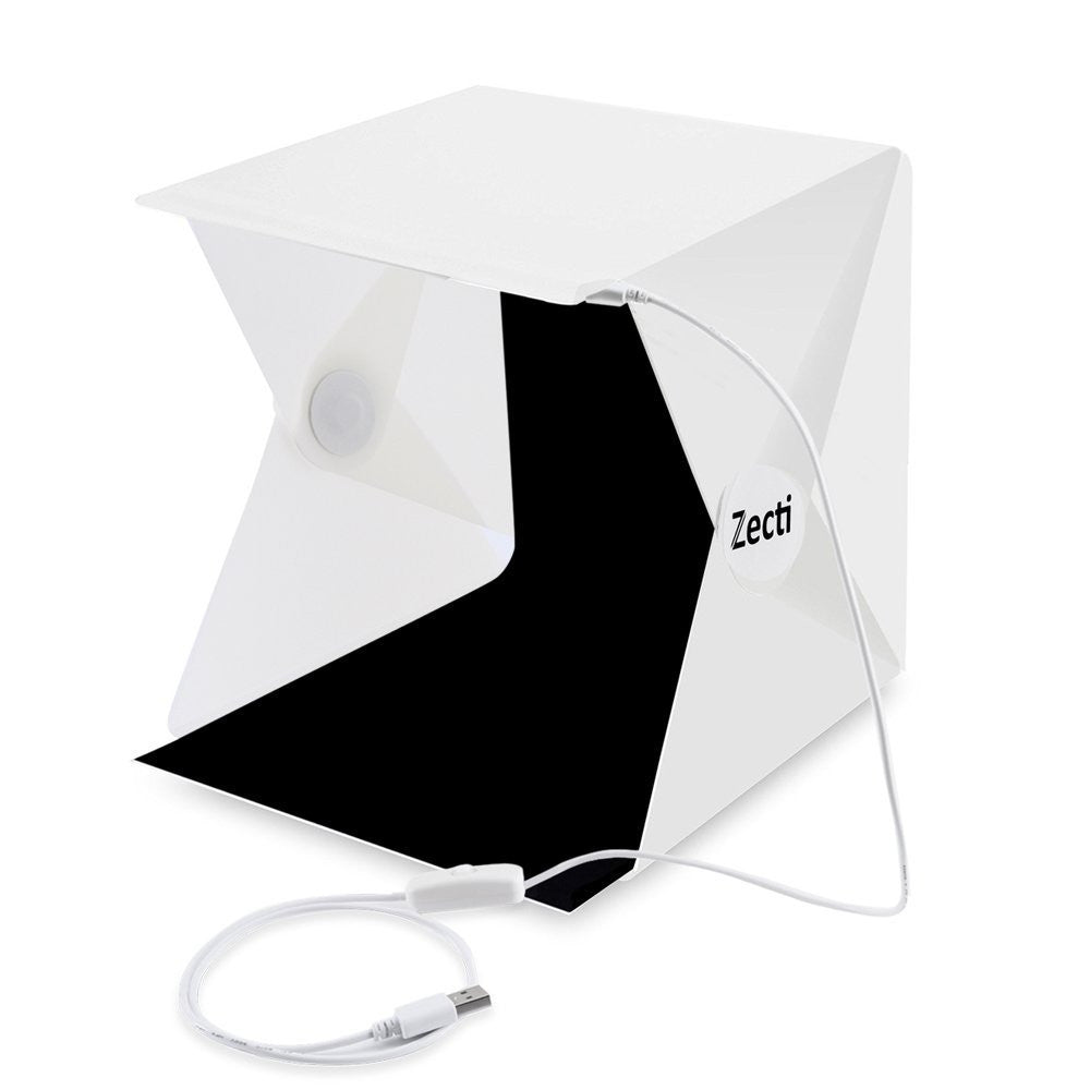 Photo Light Box, Zecti Light Tent with Black and White Backdrop for Smartphone and DSLR Photo Tent for Photography 9.4 x 9.4 Inch