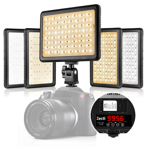 Zecti 4-in-1 216 LED Dimmable Video Lighting for DSLR DV Camcorder Switchable between soft Light and Direct Light, with Adjustable 3200-5500K Color Temperature, 1500 Lumen