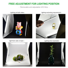 Zecti Dimmable Photo Light Box, 30x30cm Portable Studio Photo Tent with 2 Adjustable LED Strip Lights and 2 Backdrops