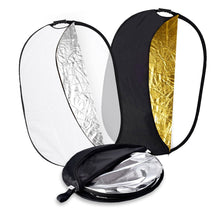 Zecti 5-in-1 Multi-Disc Collapsible Light Reflector 40x59 Inch (Translucent, Silver Gold White and Black)with Carrying Bag