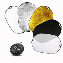 Zecti 5 in 1 Collapsible Light Reflector 40x59 Inch photography light reflector (Translucent, Silver Gold White and Black)