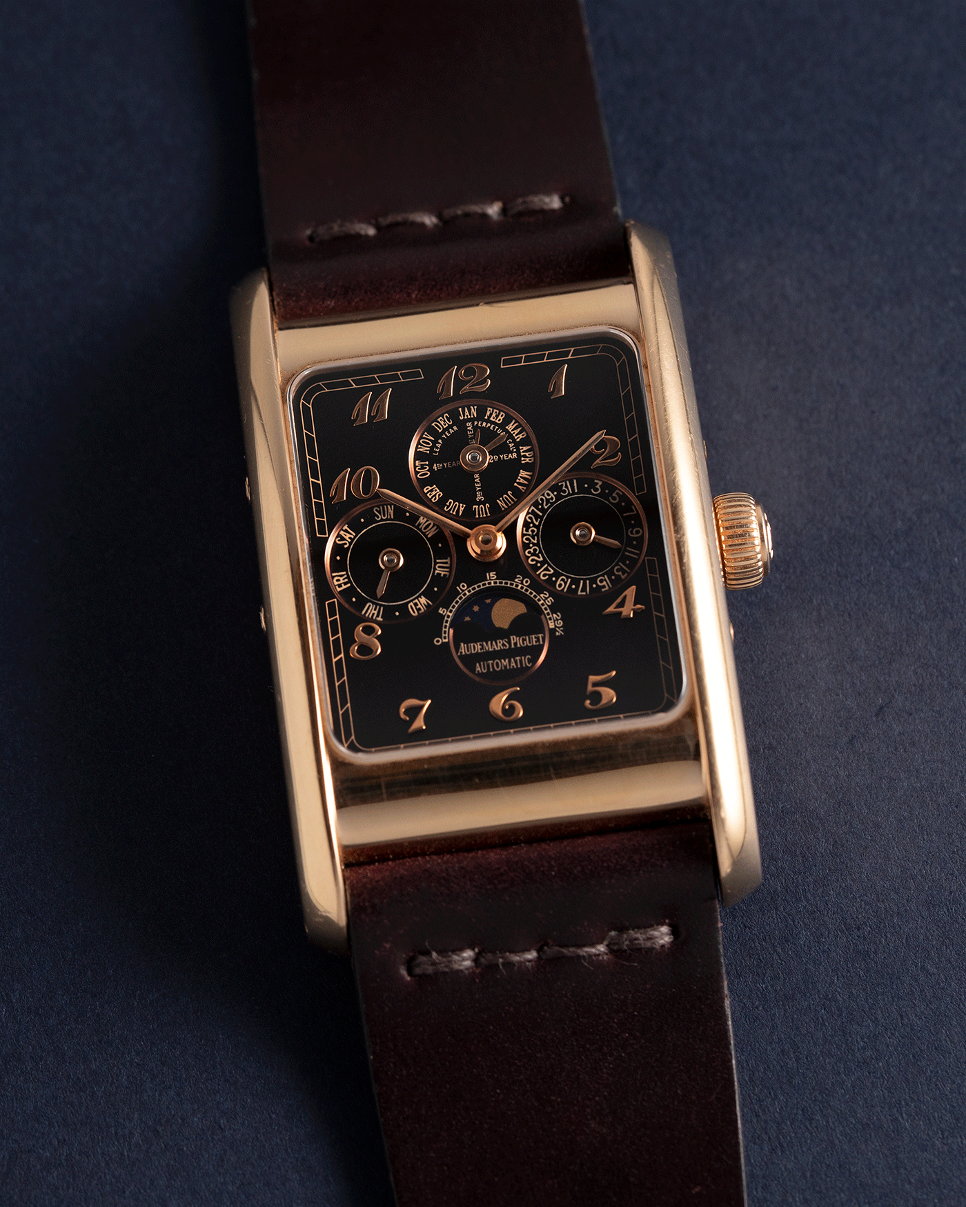 Brand: Audemars Piguet Year: 1990's Model: Edward Piguet Reference Number: 25853OR Material: 18k Rose Gold Movement: Cal 2141 Case Diameter: 27mmX45mm Bracelet: Dark Brown Horween Shell Cordovan Strap and 18k Rose Gold Audemars Piguet Tang Buckle