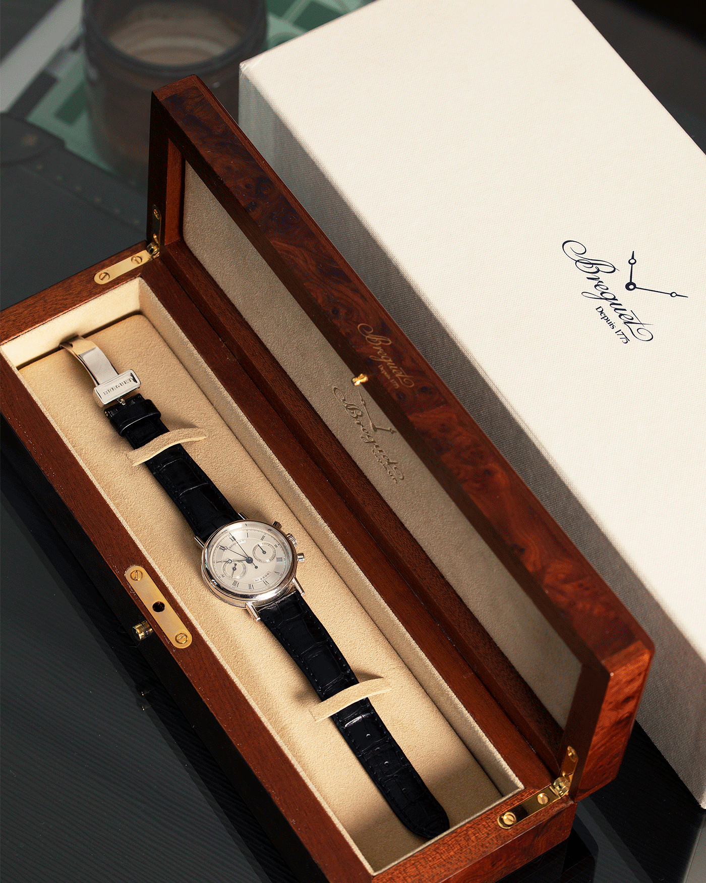 Brand: Breguet Year: 1990's Model: 3237 Material: 18k White Gold Movement: Lemania 2310 Case Diameter: 36mm Strap: Breguet Black Alligator with Deployant ClaspBrand: Breguet Year: 1990's Model: 3237 Material: 18k White Gold Movement: Lemania 2310 Case Diameter: 36mm Strap: Breguet Black Alligator with Deployant Clasp