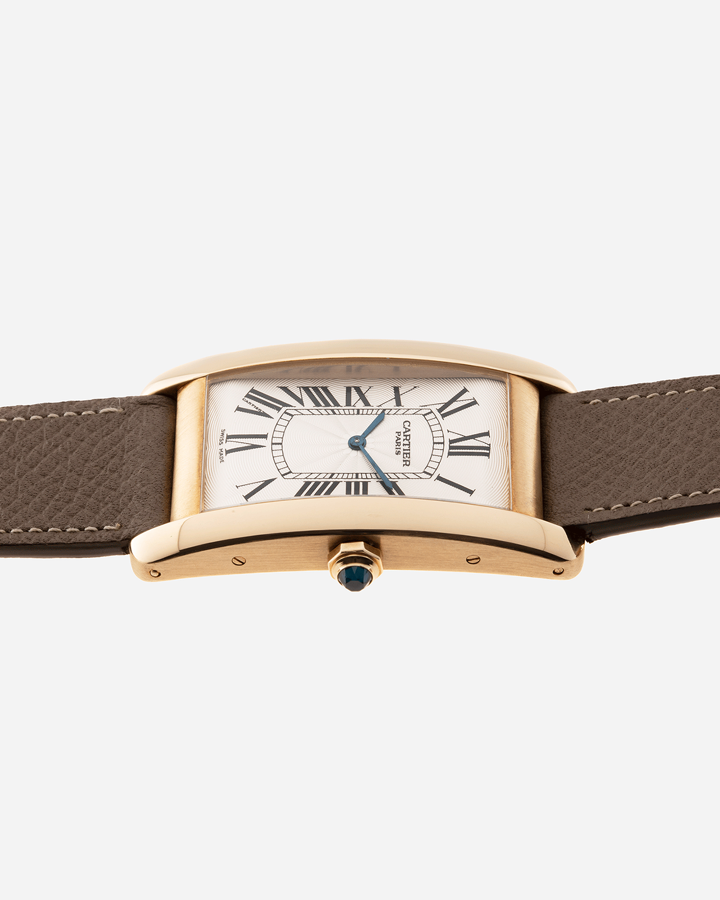 Brand: Cartier Year: 1999 Model: CPCP Collection Prive Tank Americaine Reference: 1737 Material: 18k Yellow Gold Movement: Cartier Caliber 430 MC Case Diameter: 45mmX26mm Strap: Nostime Taupe Grained Calf