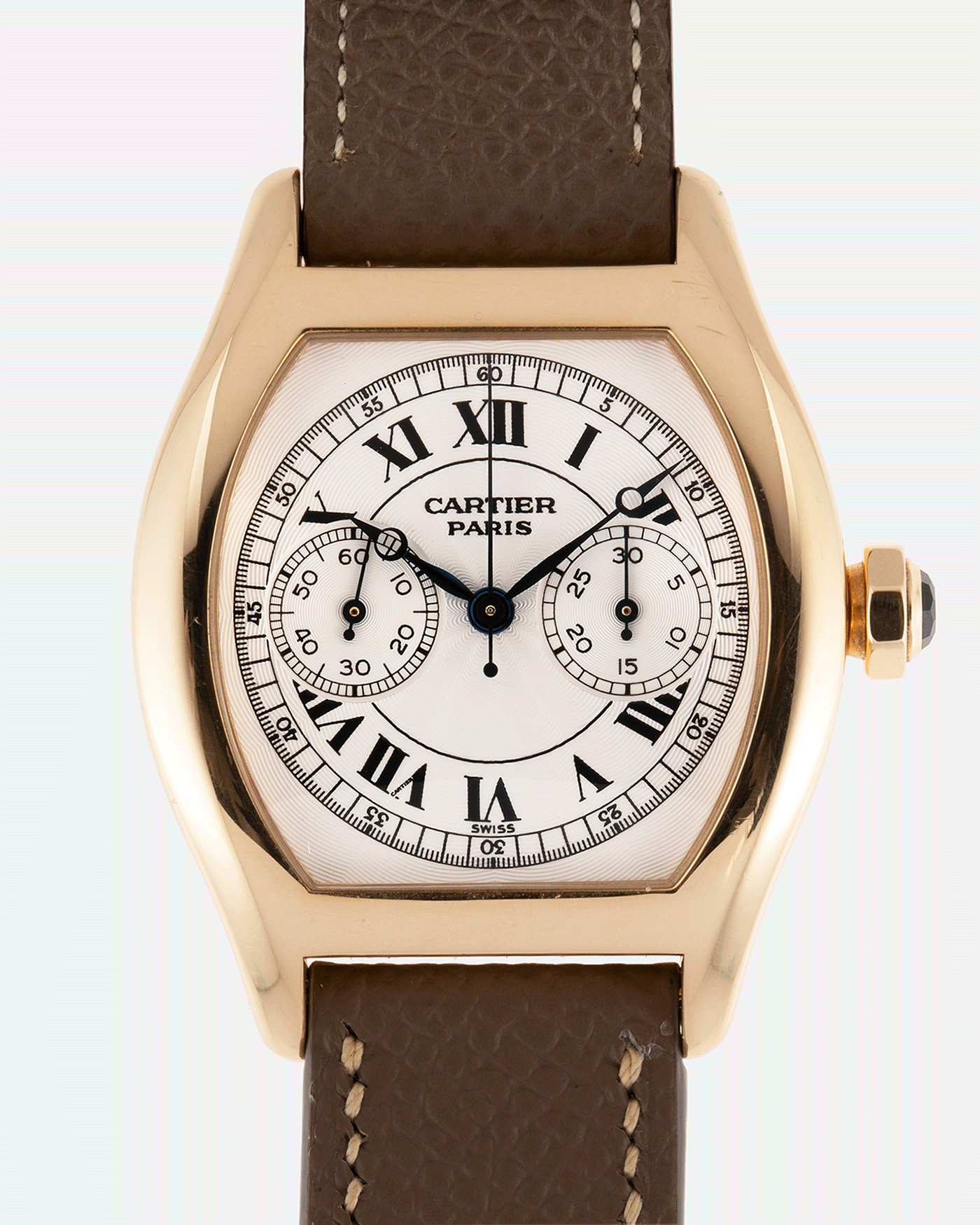 Brand: Cartier Year: 2000's Model: CPCP Collection Prive Tortue Monopoussoir Reference: 2356E Material: 18k Yellow Gold Movement: THA Cal. 045MC Case Diameter: 43 x 35 mm Strap: Cartier Nostime Taupe Grained Calf with 18k Cartier Yellow Gold Deployant F.P. Journe