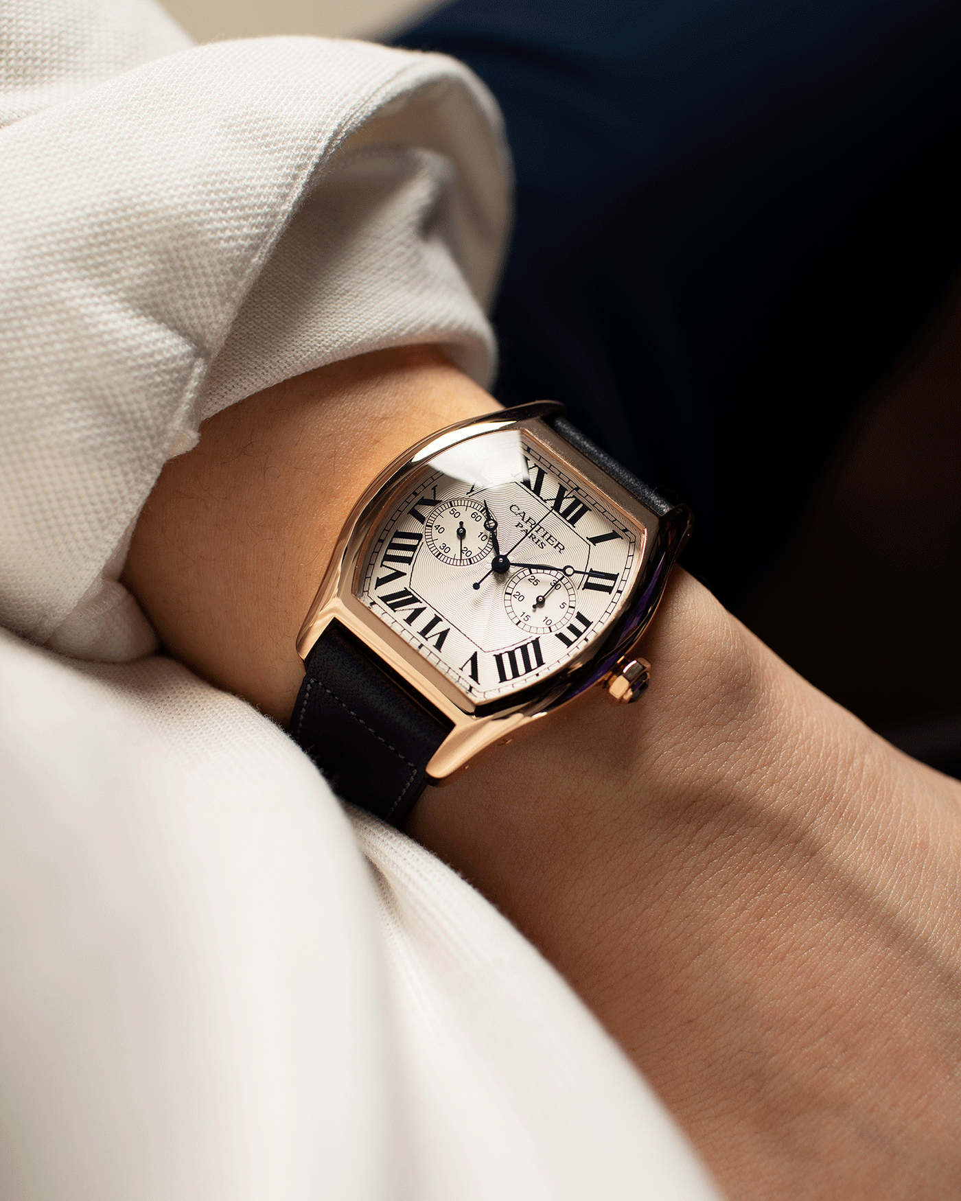 Brand: Cartier Year: 2005 Model: CPCP Collection Prive Tortue Monopoussoir XL Reference: 2781 Material: 18k Rose Gold Movement: THA Cal. 045MC Case Diameter: 37 x 39 mm Strap: Navy Blue Accurate Form Japanese Calf Strap with separate 18k Cartier Rose Gold Deployant