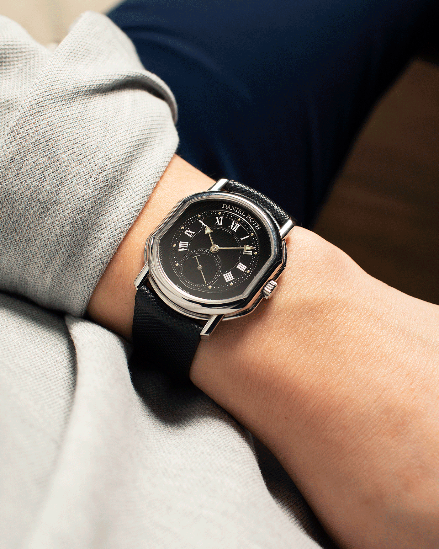 Brand: Daniel Roth Year: 2002 Model: Small Seconds Material: Stainless Steel Case Diameter: 35mmX38mm Bracelet/Strap: JPM X S.SONG Black Saffiano and Stainless Steel Daniel Roth Tang Buckle