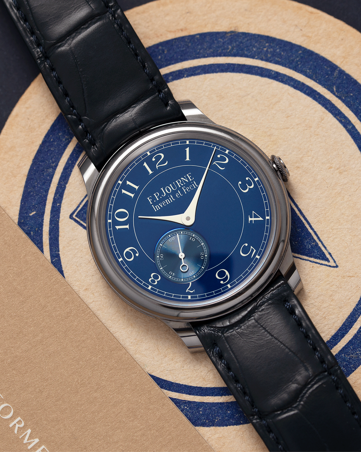 Brand: F.P. Journe Year: 2016 Model: Chronometre Bleu Material: Tantalum Movement: in-house FPJ calibre 1304 Case Diameter: 39mm Bracelet/Strap: F.P. Journe Blue Alligator and Tantalum Tang Buckle