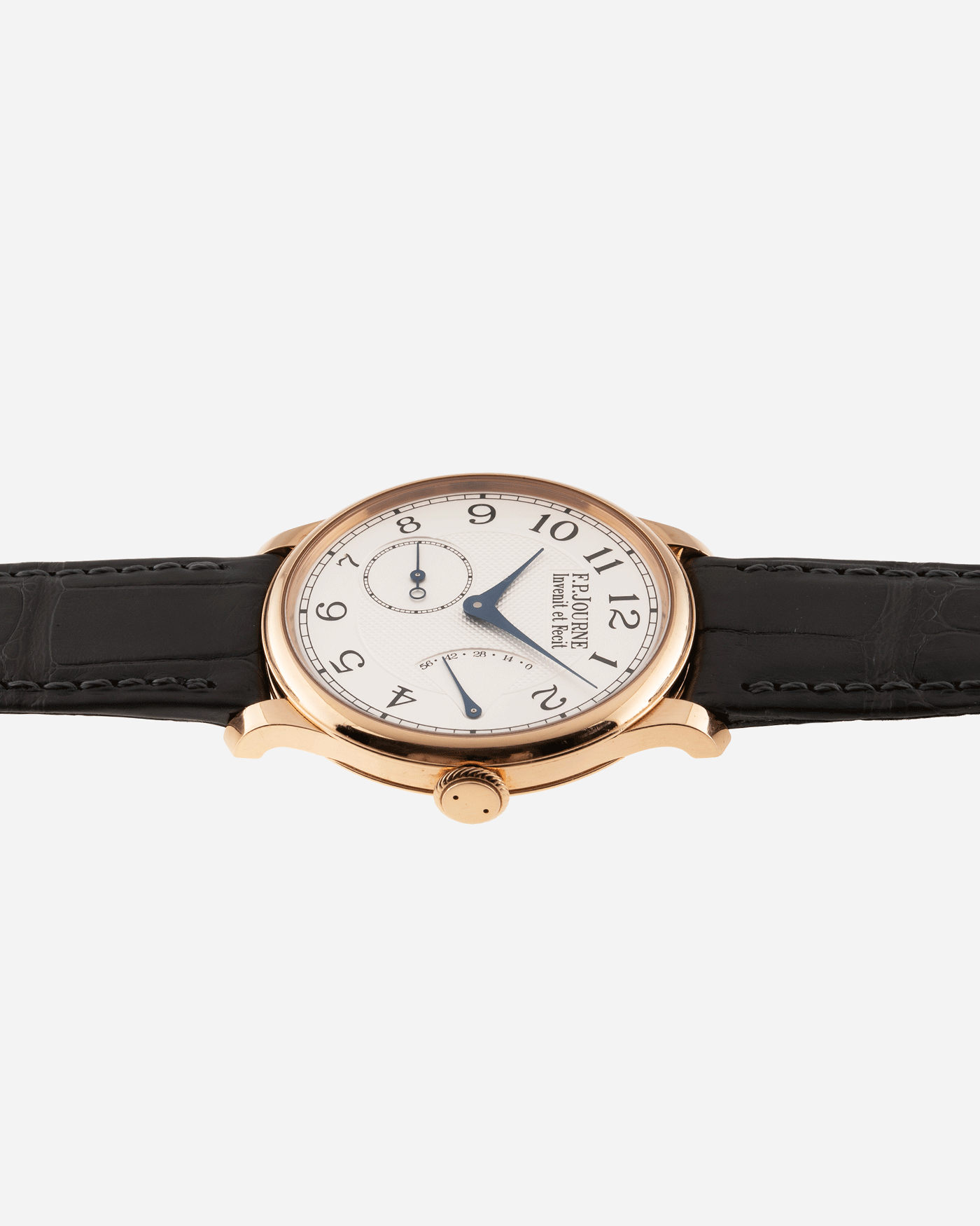 Brand: F.P. Journe Year: 2009 Model: Chronometre Souverain Material: 18k Rose Gold Movement: in-house FPJ calibre 1304 Case Diameter: 38mm Bracelet/Strap: F.P. Journe Grey Alligator and 18k Rose Gold Tang Buckle