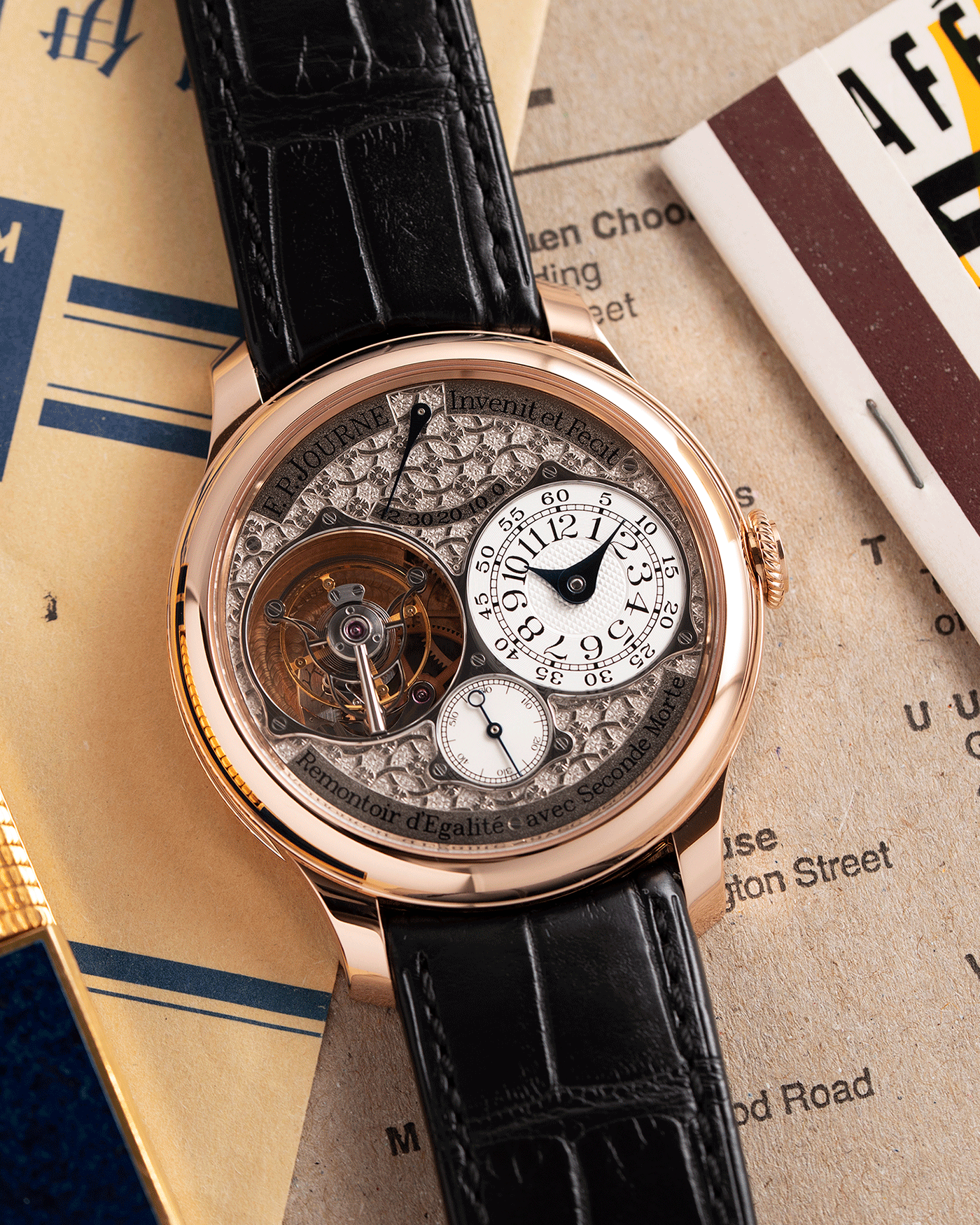 Brand: F.P. Journe Year: 2019 Model: Tourbillon Souverain Regence Circulaire Material: Rose Gold Movement: Calibre F.P.Journe 1403 Case Diameter: 40mm Bracelet/Strap: F.P. Journe Navy Black Alligator and Rose Gold Signed Tang Buckle