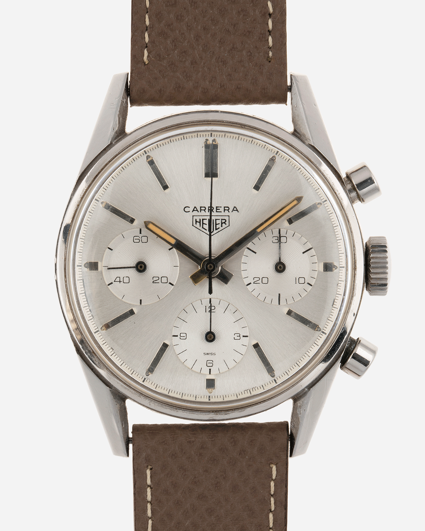 Brand: Heuer Year: 1960's Model: Carrera Reference Number: 2447S Material: Stainless Steel Movement: Valjoux 72 Case Diameter: 36mm Lug Width: 18mm Bracelet/Strap: Nostime Grained Taupe