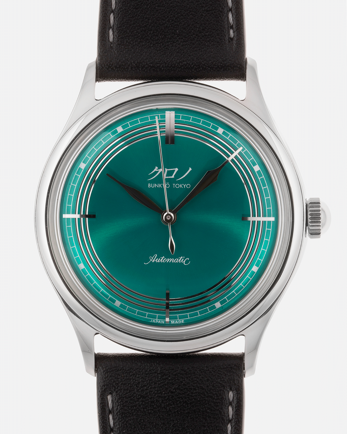 Brand: Kurono Year: 2020 Model: Mori Material: Stainless Steel Movement: Miyota 90S5 Case Diameter: 37mm Strap: Kurono Dark Green Calf