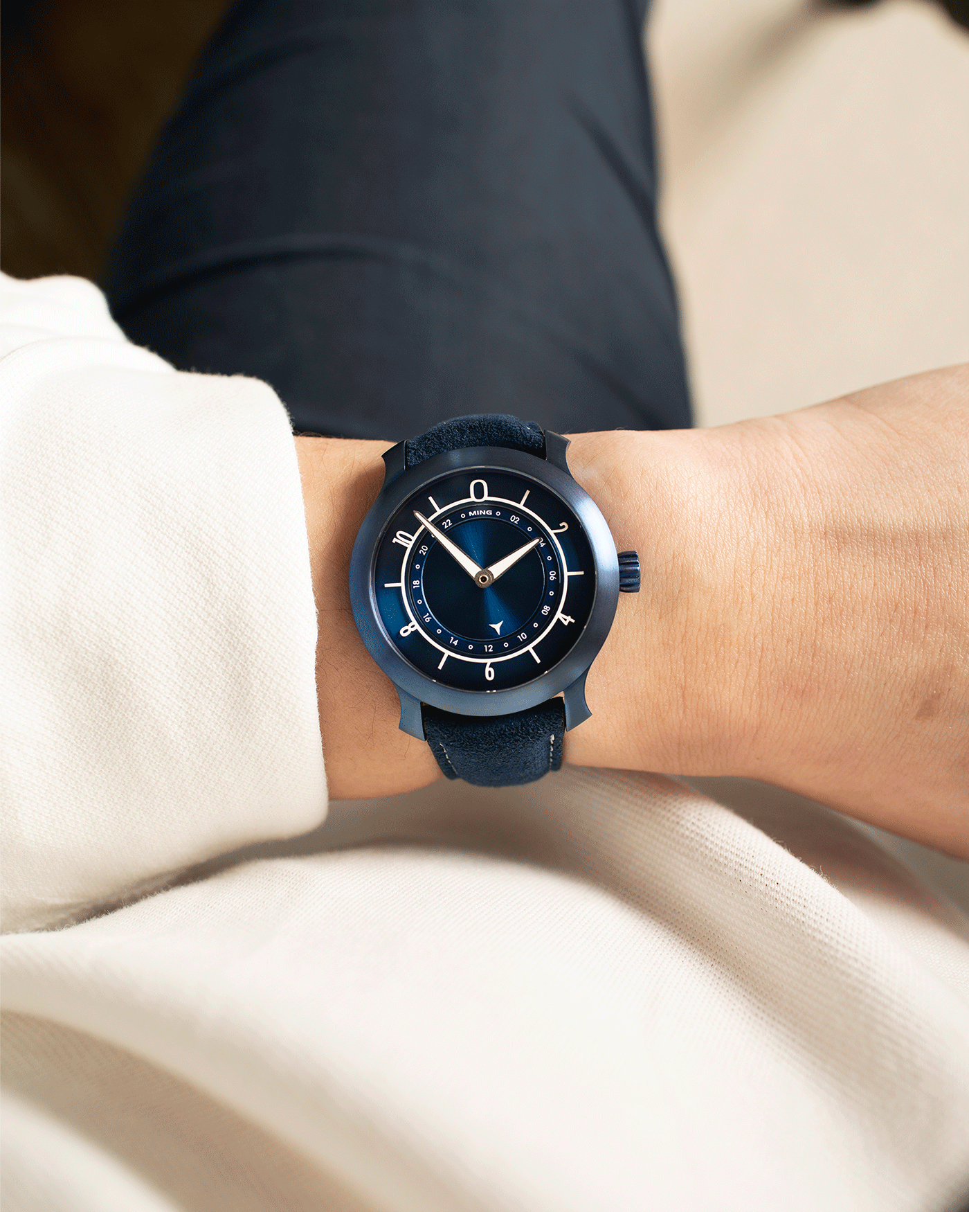 Brand: Ming Year: 2018 Model: 17.03 Material: Grade 2 Titanium Movement: Self-Winding Sellita SW 330-1 Case Diameter: 38mm Strap: Ming Blue Suede Strap and Grade 5 Ultra Blue Titanium Tang Buckle