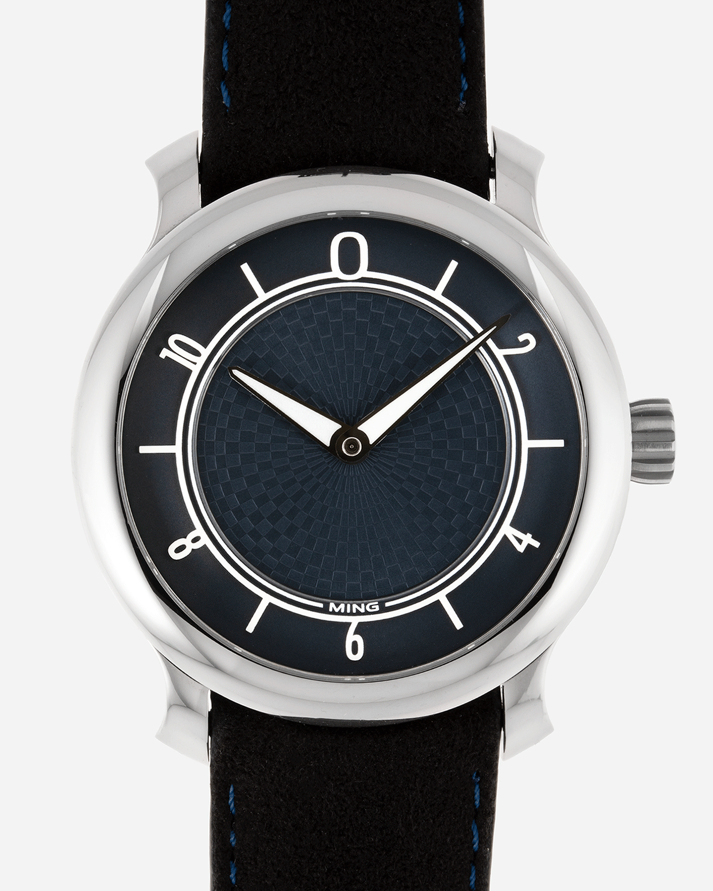 Brand: Ming Year: 2019 Model: 17.06 Material: Stainless Steel Movement: Heavily Modified ETA 2824-2 Case Diameter: 38mm Strap: Jean Rousseau Black Suede with Blue Stitching for MING