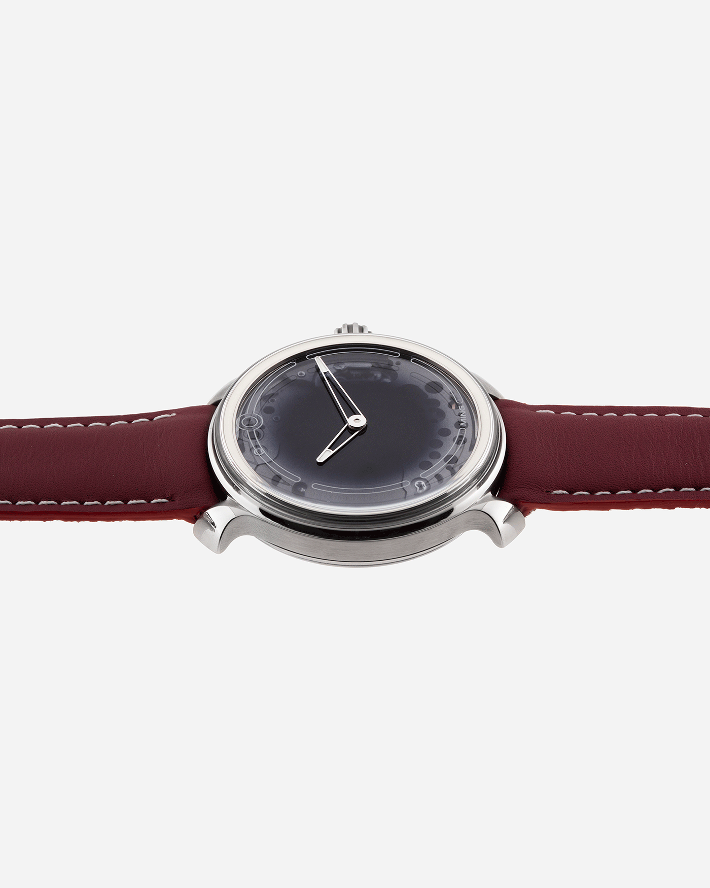 Brand: Ming Year: 2017 Model: 19.01 Material: Grade 5 Titanium Movement: Schwarz-Etienne for MING Cal. MSE100.1 Case Diameter: 39mm Strap: Ming / Jean Rousseau Red Leather Strap