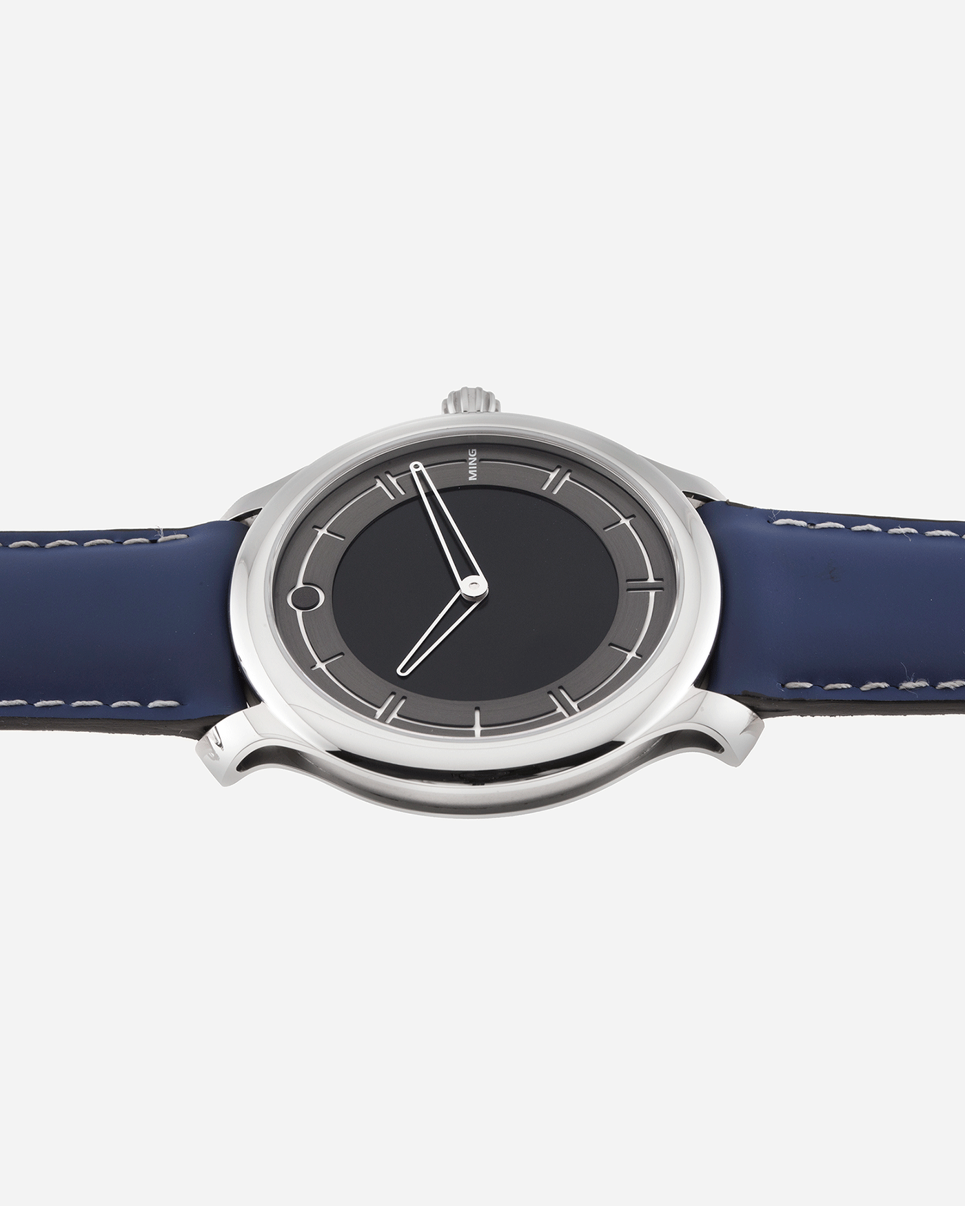 Brand: Ming Year: 2020 Model: 27.01 Material: Stainless Steel Movement: Heavily modified ETA Peseux 7001 Case Diameter: 38mm Strap: Jean Rousseau Blue Rubber for MING