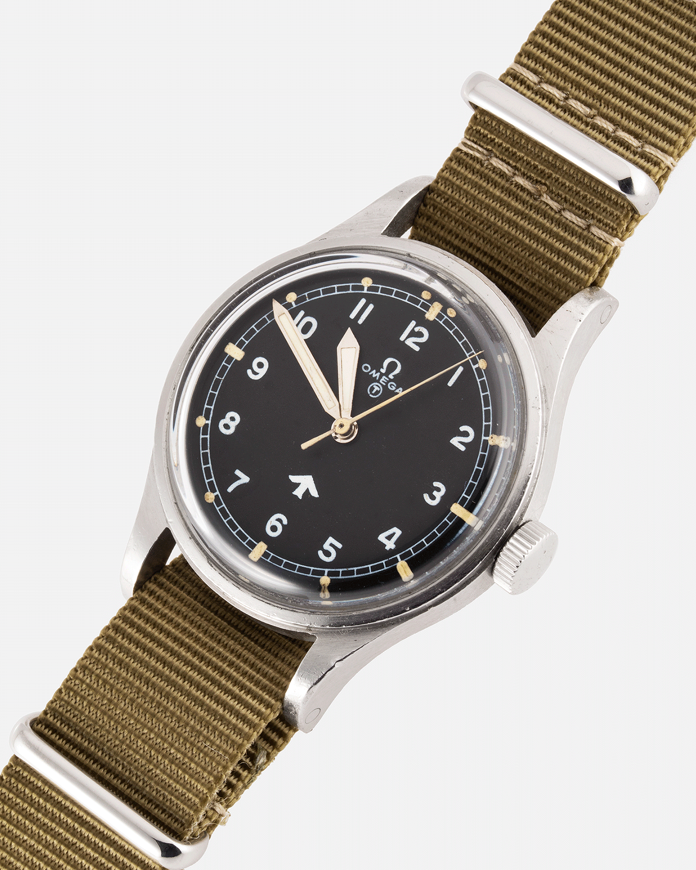 Brand: Omega Year: 1953 Model: Fat Arrow 53 Reference Number: CK 2777-1 Material: Stainless Steel Movement: 'Specially Adjusted' Cal. 283 Case Diameter: 37mm Lug Width: 18mm Bracelet/Strap: Green Fabric NATO