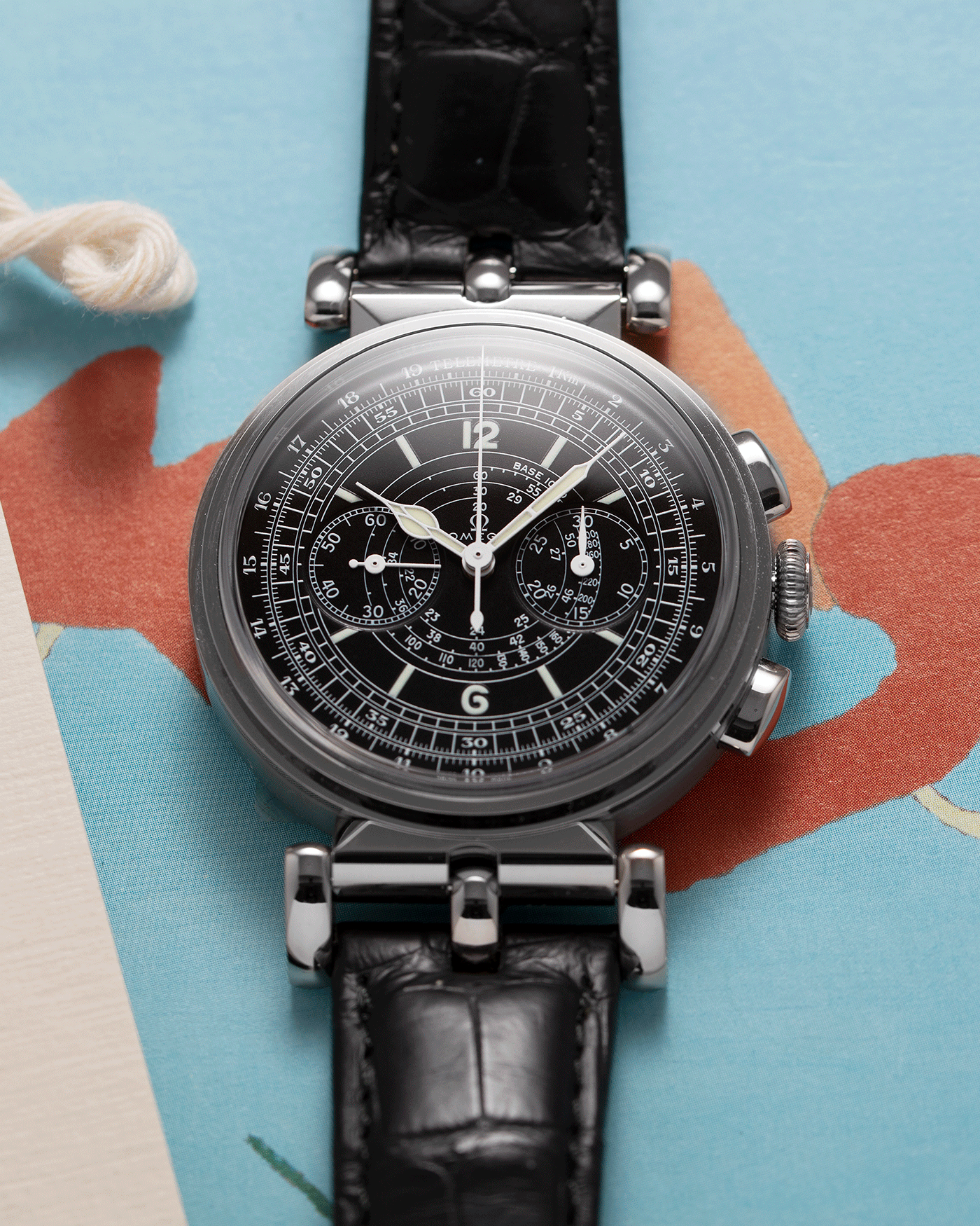 Brand: Omega Year: 2009 Model: Milestone Museum Collection 1941 Officer's Chronograph Material: 18k White Gold Movement: Manual Winding Omega in-house 3203 Case Diameter: 38.1mm wide 12mm thick Strap: Black Omega Alligator Strap with 18k White Gold Omega Tang Buckle