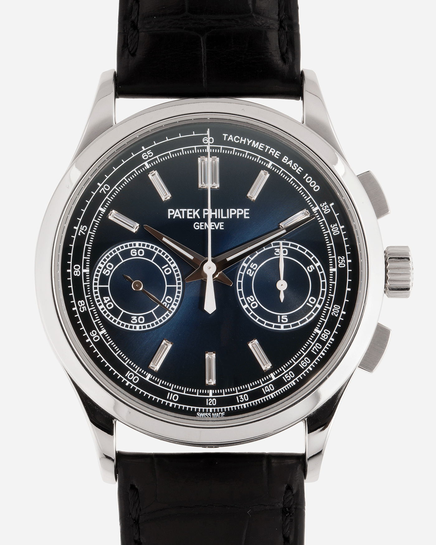 Brand: Patek Philippe Year: 2019 Model: Chronograph Reference Number: 5170P Material: Platinum Movement: In-House Caliber CH 29-535 PS Case Diameter: 39.4mm Bracelet: Nostime Patek Philippe Black Alligator Strap with Platinum Deployant Clasp