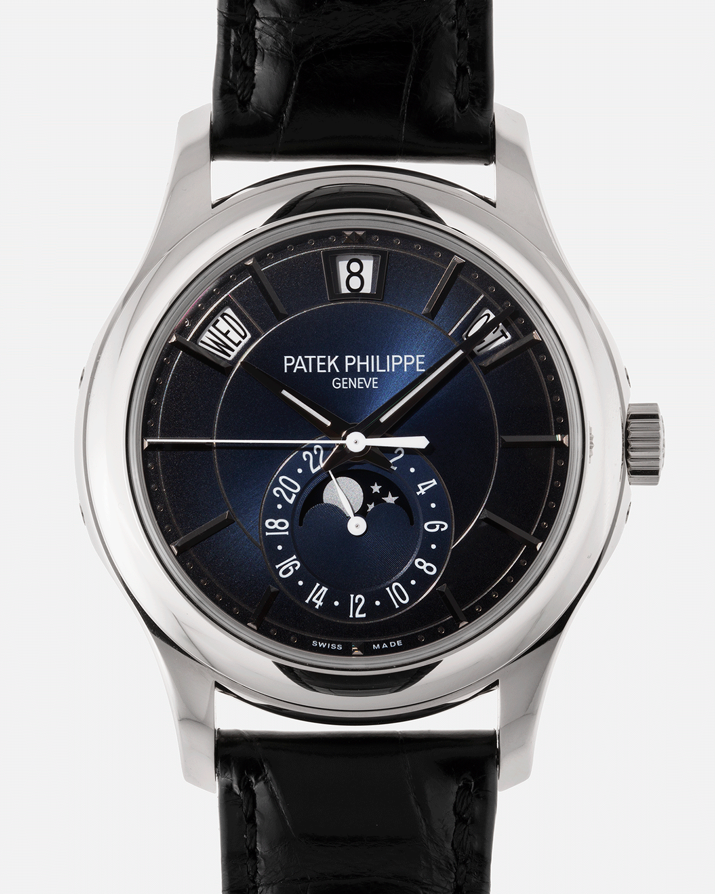 Brand: Patek Philippe Year: 2019 Model: Annual Calendar Reference Number: 5205G Material: 18k White Gold Movement: Cal 324 S QA LU 24H Case Diameter: 40mm Bracelet: Patek Philippe Black Alligator Strap with 18k White Gold Tang Buckle
